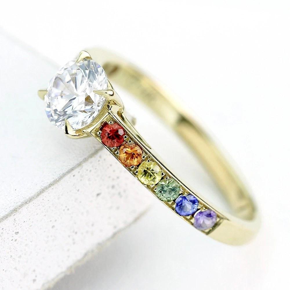 Equalli gay mens wedding rings Gay Mens Diamond Engagement Ring Wedding Band 14K Yellow Gold Unisex Unique Natural Rainbow Sapphire Las Vegas Ring R 14K Yg