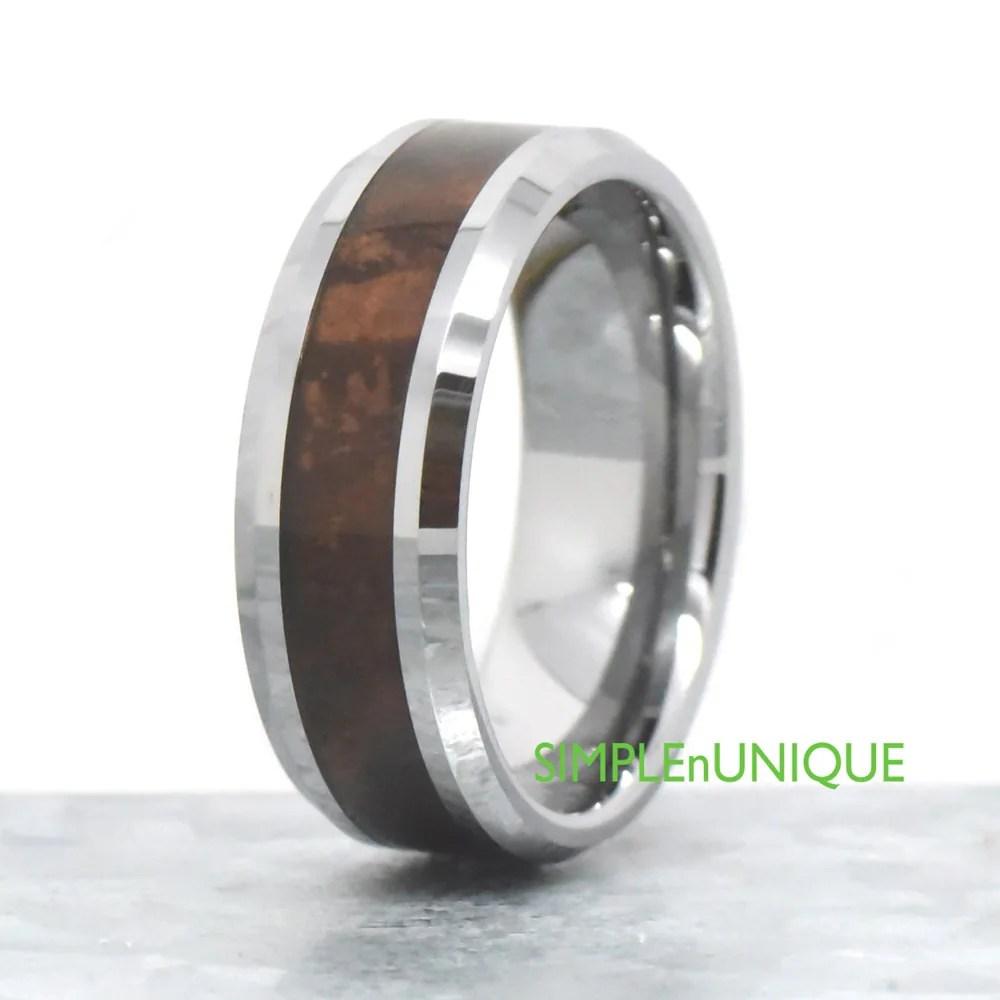 mens wood ring wooden wedding bands mens 8mm Mens Wedding Band Mens Wood Wedding Band Mahogany Wood Inlay Wood Ring Mens Wood Ring Gift For Him Unique Anniversary Ring Band