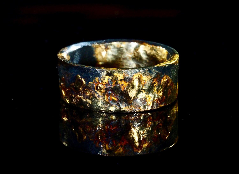 gold viking ring viking wedding bands Unique mens wedding band gold silver Mens Gold Wedding Ring Black Unique Viking Rustic
