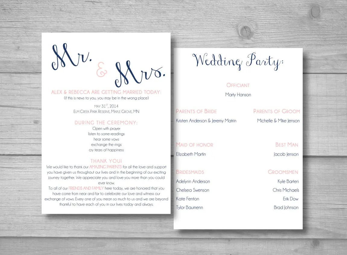 Fullsize Of Diy Wedding Programs