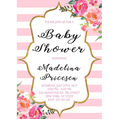 Medium Crop Of Pink And Gold Baby Shower Invitations