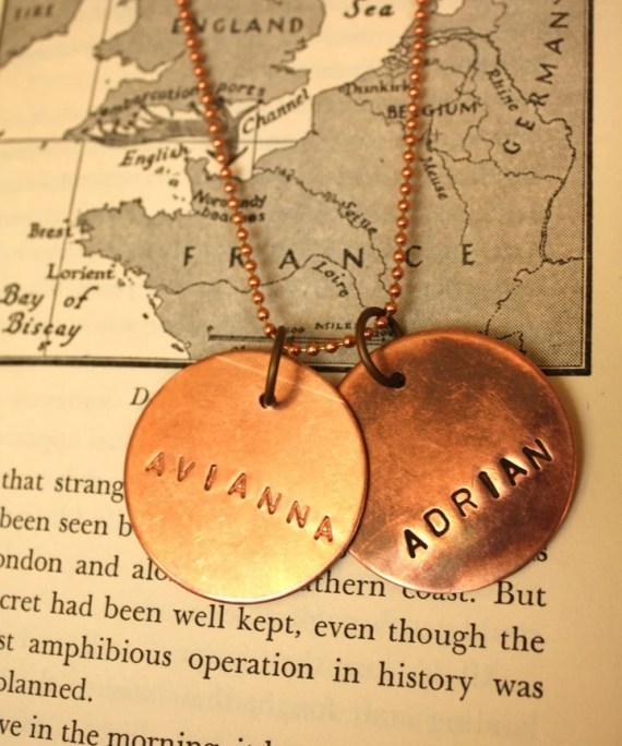 Mens Personalized Copper 2 Tags Necklace
