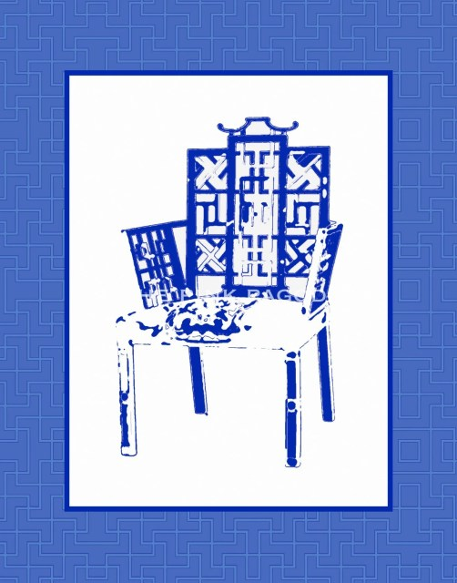 Navy Chinoiserie Chair 8x10 Giclee