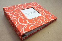Baby Memory Book - Orange and White Swirls  (78 designed journaling pages & personalization included with every album)