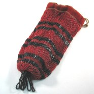 Vintage Flapper Style Red and Black Beaded Purse