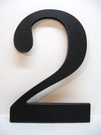 Black Number 2 - Graphic - Wall Decor - 15 inches - Two