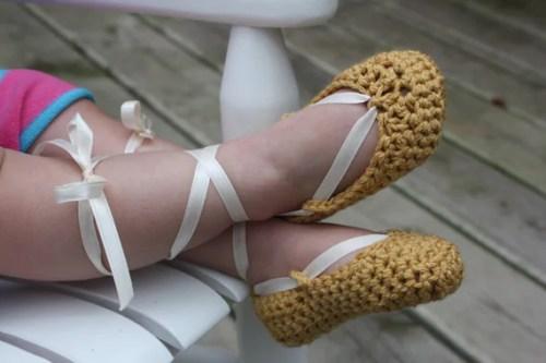 Crochet bebé sandalia, el Ballet Flat-Oro