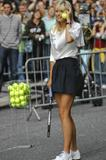 Maria Sharapova plays tennis on the street outside studios of The Late Show with David Letterman
