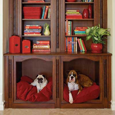 DIY bookshelf converted into recessed dog beds