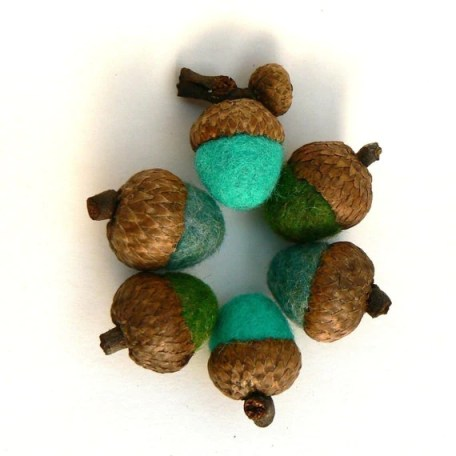 Wool Acorns, Woodland Colors, 10 Handmade Felt Needle Felted Colorful Home Decor Autumn Waldorf Natural Nature Fall Turquiose Sea Blue