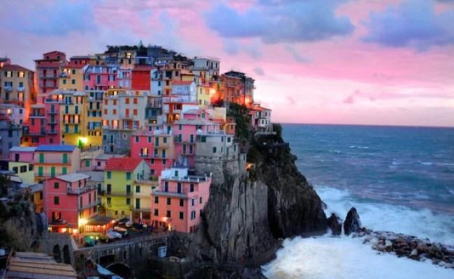 Cinque Terre photograph - Manarola photo Italy Italian sunset coast ocean Mediterranean colorful village breaking waves -- ita0009