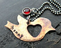 Hand Stamped metal customized bird necklace