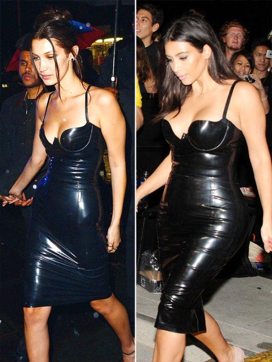 Gigi Hadid and Kim Kardashian latex dress faceoff