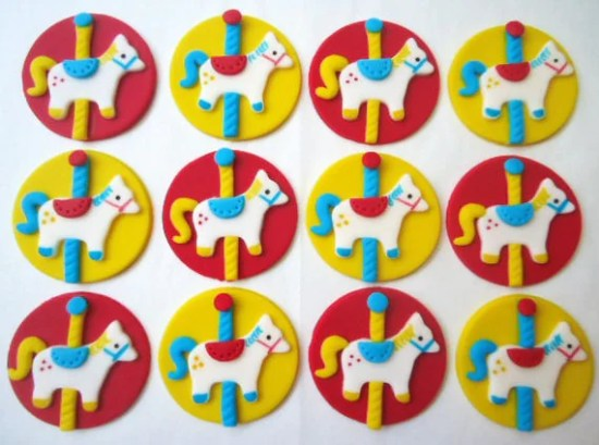 Edible Cupcake Toppers - Carousel Horses - Fondant Cupcake Decorations