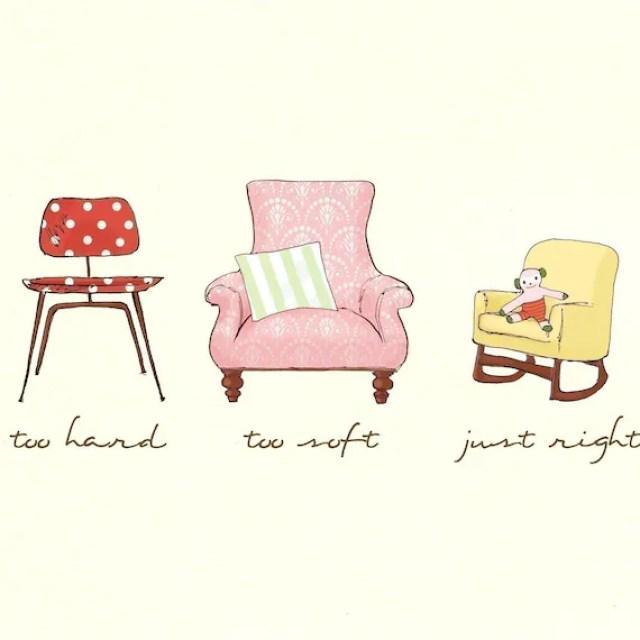 Children's Wall Art Print - The Three Bears Chairs - 8x10 - Kids Nursery Room Decor