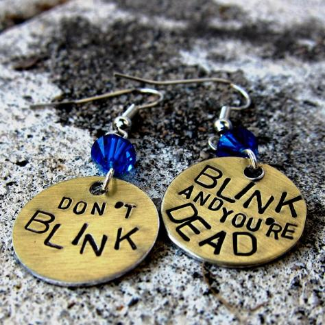 Dr Who Quote - DON'T BLINK - Hand Stamped Earrings by DesignByAnyOtherName