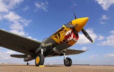 Wallpaper the sky, fighter, the airfield, P-40 Warhawk images for desktop, section авиация ...