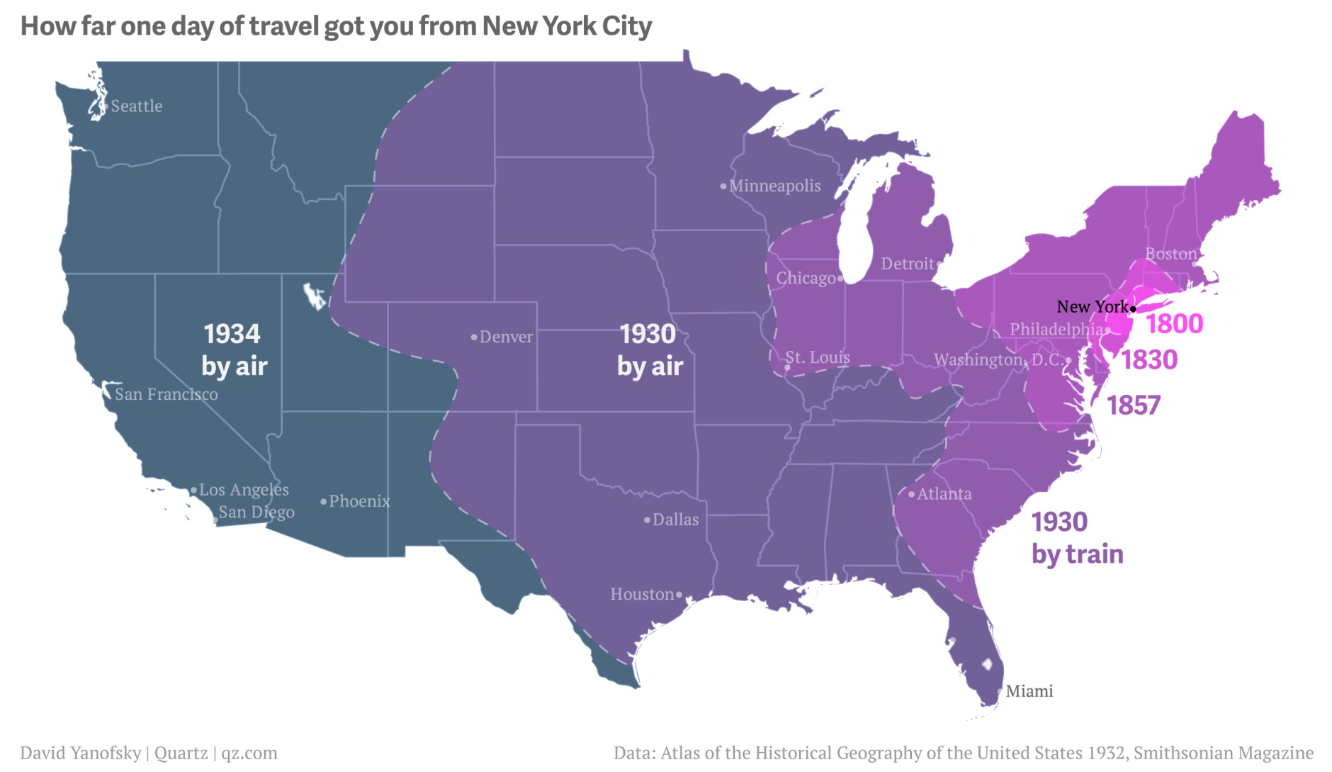 How Far From NYC You Could Travel in One Day Between 1800 and 1934     Posted On Wed  February 24  2016 By Dana Schulz In History  maps   Transportation