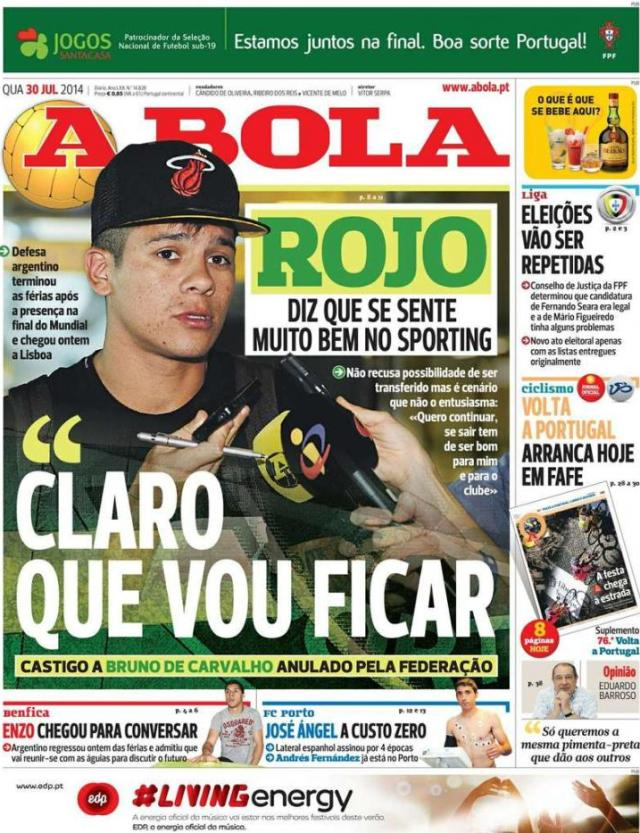 Capa do jornal A BOLA 30 Julho 2014