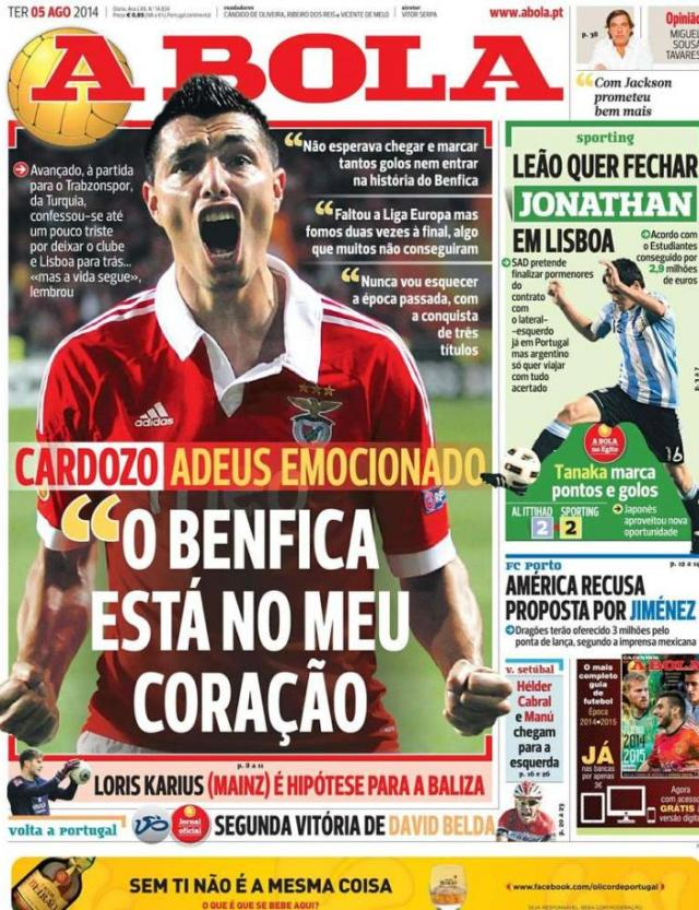 Capa do jornal A BOLA 05 Agosto 2014