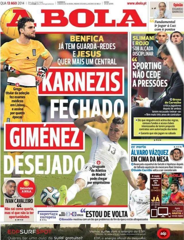 Capa do jornal A BOLA 13 Agosto 2014