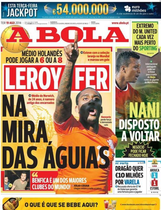 Capa do jornal A BOLA 19 Agosto 2014