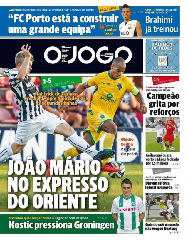 Capa do Jornal O JOGO de 24 de Julho de 2014