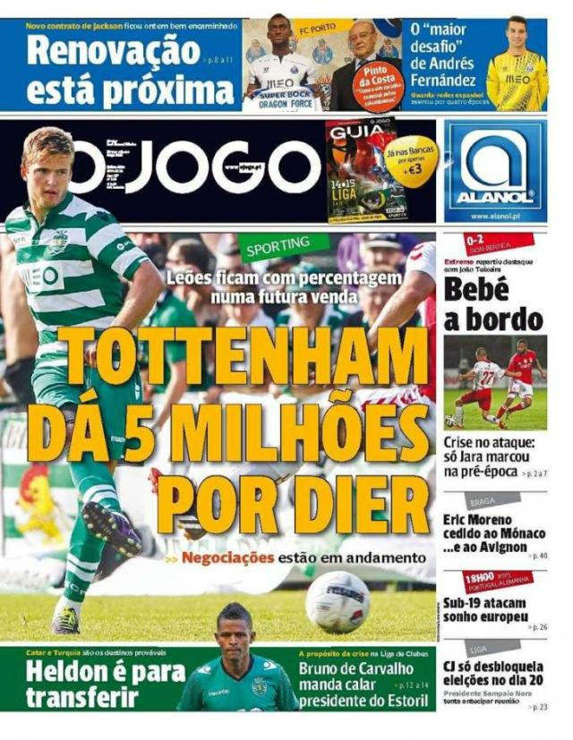 Capa do Jornal O JOGO de 31 de Julho de 2014