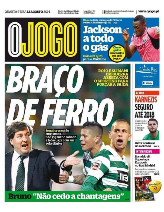 Capa do Jornal O JOGO de 13 de Agosto de 2014