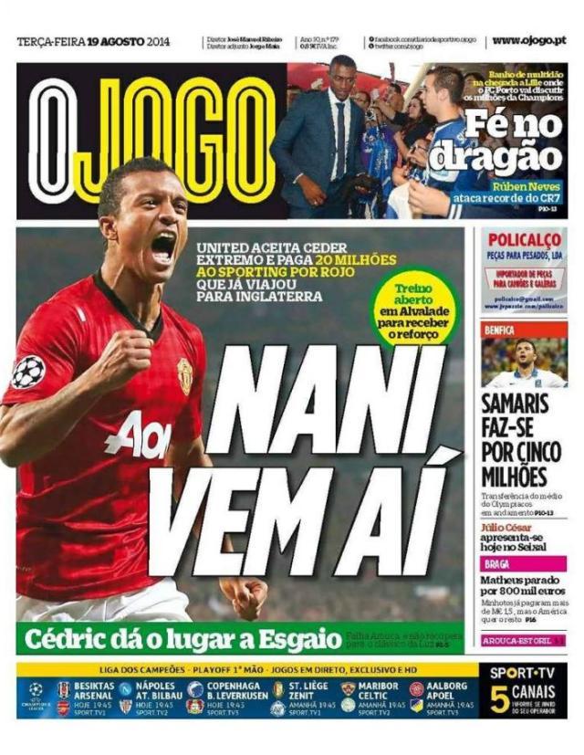 Capa do Jornal O JOGO de 19 de Agosto de 2014