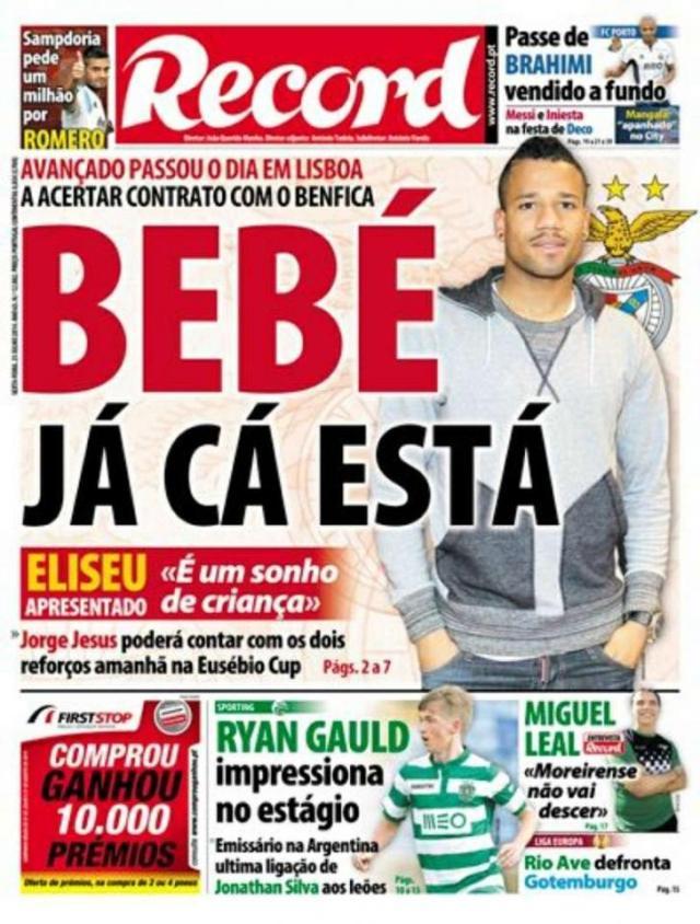 Capa do Jornal Record de 25 de Julho 2014