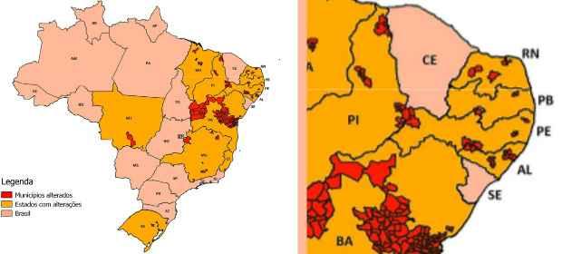 Mudança afetou 11 estados do Brasil e um total de 206 municípios. À direita, alterações em Pernambuco (IBGE/Divulgação)