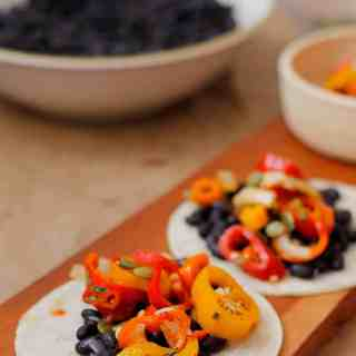 Black bean tacos with sweet pepper salsa