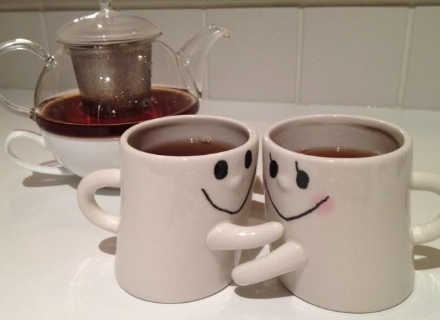 Hugging Tea Cups Cute Tea Cups