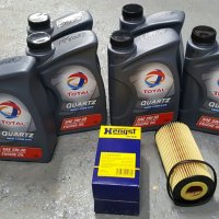 TOTAL QUARTZ OIL CHANGE PACKAGE AUDI, VOLKSWAGEN V6 TDI 2009-2012 AUDI Q7,  VOLKSWAGEN TOUAREG 3.0 V6 TURBO DIESEL 1 MAHLE  OIL FILTER
