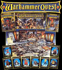 Contents of the Warhammer Quest boxed game, as well as the various Warrior Packs