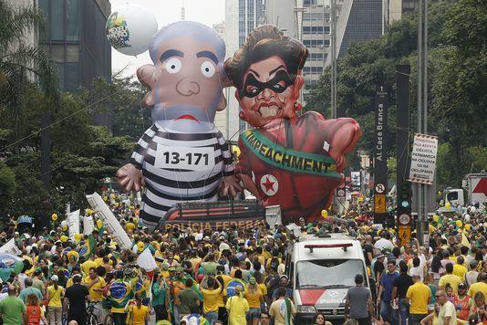 Manifestations anti-gouvernement du 14 mars, à Sao Paulo.