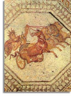 Apollo, sun god, in his chariot drawn by four horses