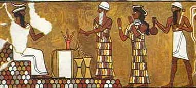 Enlil (left) attended by the Iggigi; painting from Mari, Sumer