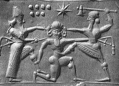 Sumerian seal with seven planets