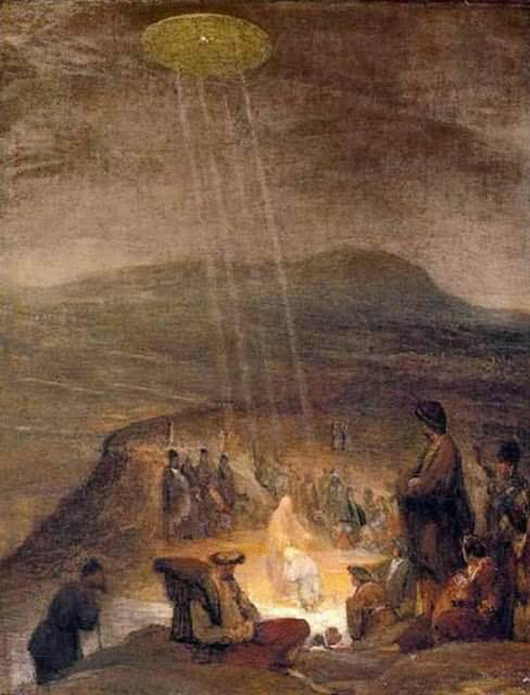 "UFOs in art: ""Battesimo di Cristo"" 1710; Fitzwilliam Museum, Cambridge"
