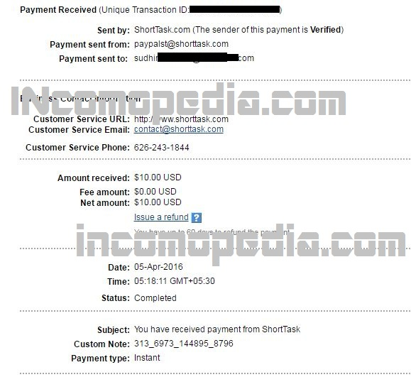 shorttask.com payment proof