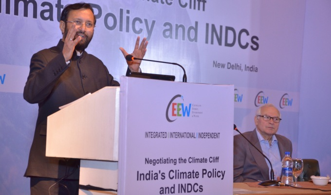 Prakash Javadekar, India's Minister for Environment, Forests and Climate Change, at the CEEW conference in New Delhi on Tuesday