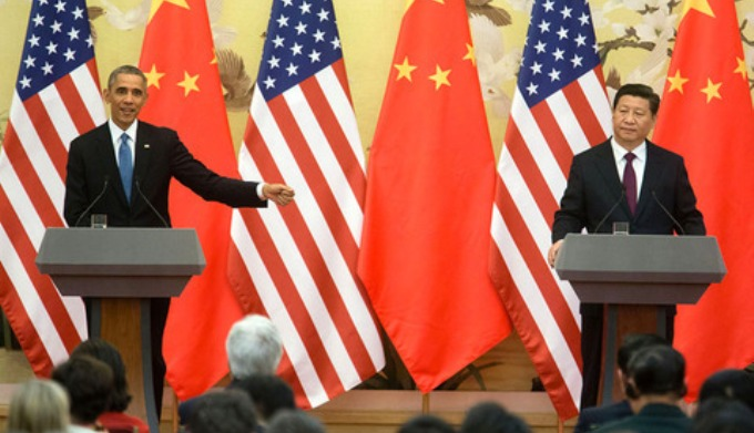 Presidents Obama and Xi at a previous summit meeting in Beijing in November 2014. Friday's announcement builds on the Sino-US climate agreement from late last year (Image by Chuck Kennedy / White House)