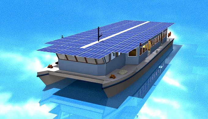 A model of the solar ferry to be launched in Kerala. Source: India Climate Dialogue