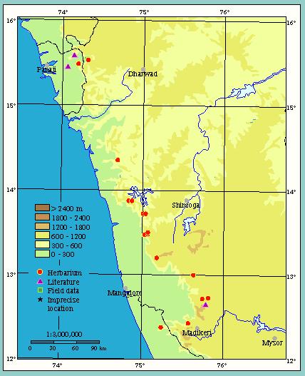 The habitat of Diospyros saldanhae have remained stable across millennia. (Map by Institut Français de Pondichéry )