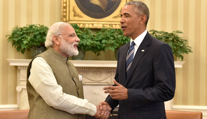 Caption: India's Prime Minister Narendra Modi and US President Barack Obama at the While House on Tuesday [Image by Press Information Bureau, Government of India]