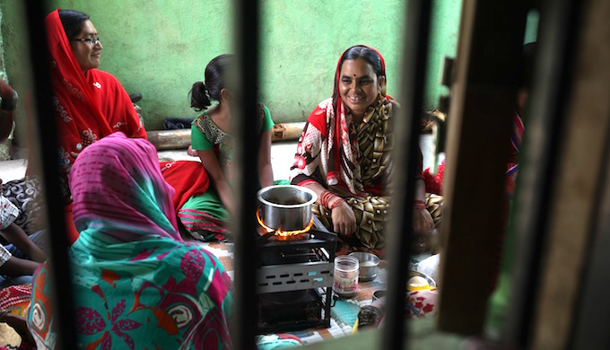 Solar cook stoves eliminate the hazards of indoor air pollution. (Photo by Swayam Shikshan Prayog)