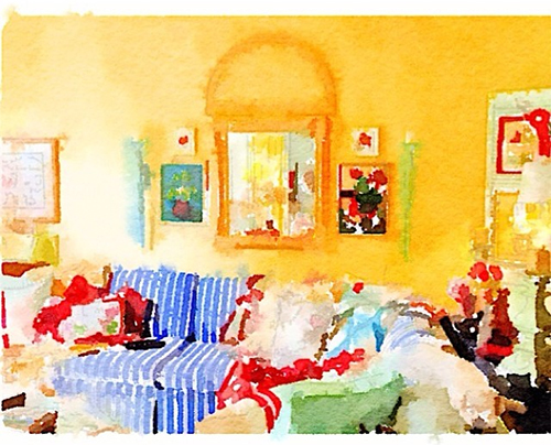 Bright and Happy Waterlogue Living Room by Instagram Kelly McMaster