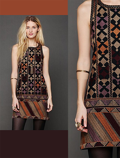 Free People Phulkari Embroidered Mini Shift Dress